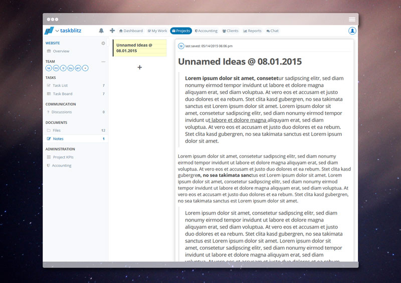Browser Note Projects